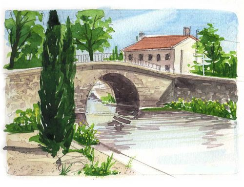 Canal du Midi – watercolour tutorial
