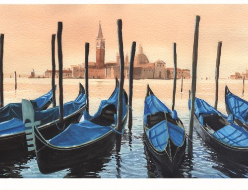 Venetian gondolas – watercolour (and gouache) tutorial