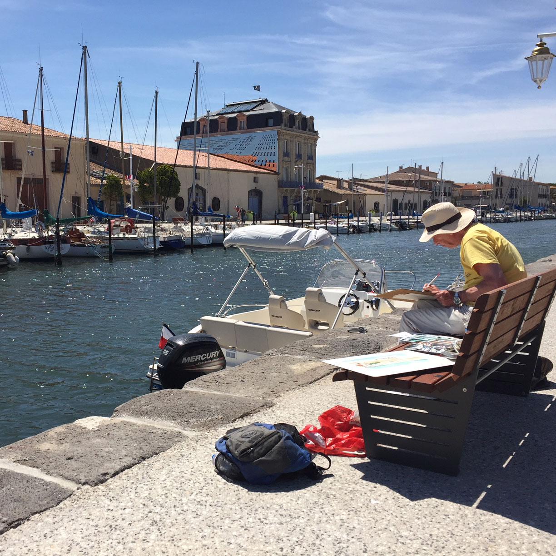painting holiday - marseillan port france