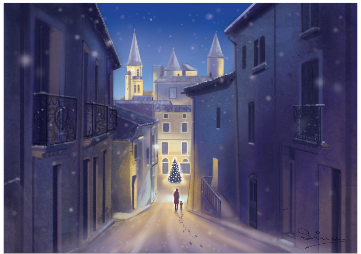 digitally painted christmas card - Pouzolles