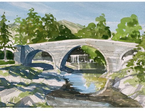 How to Paint…The old bridge on the road to St. Gervais sur Mare.