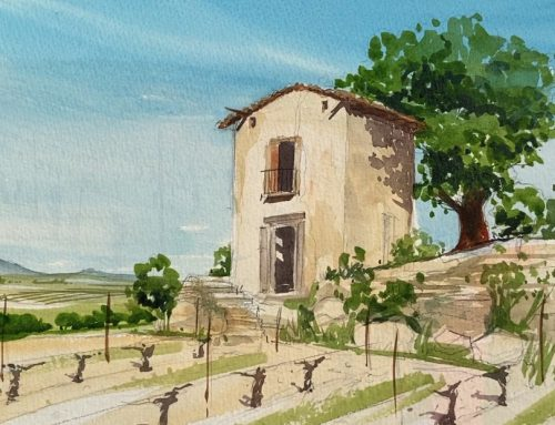 Painting live –  in a French Vineyard.
